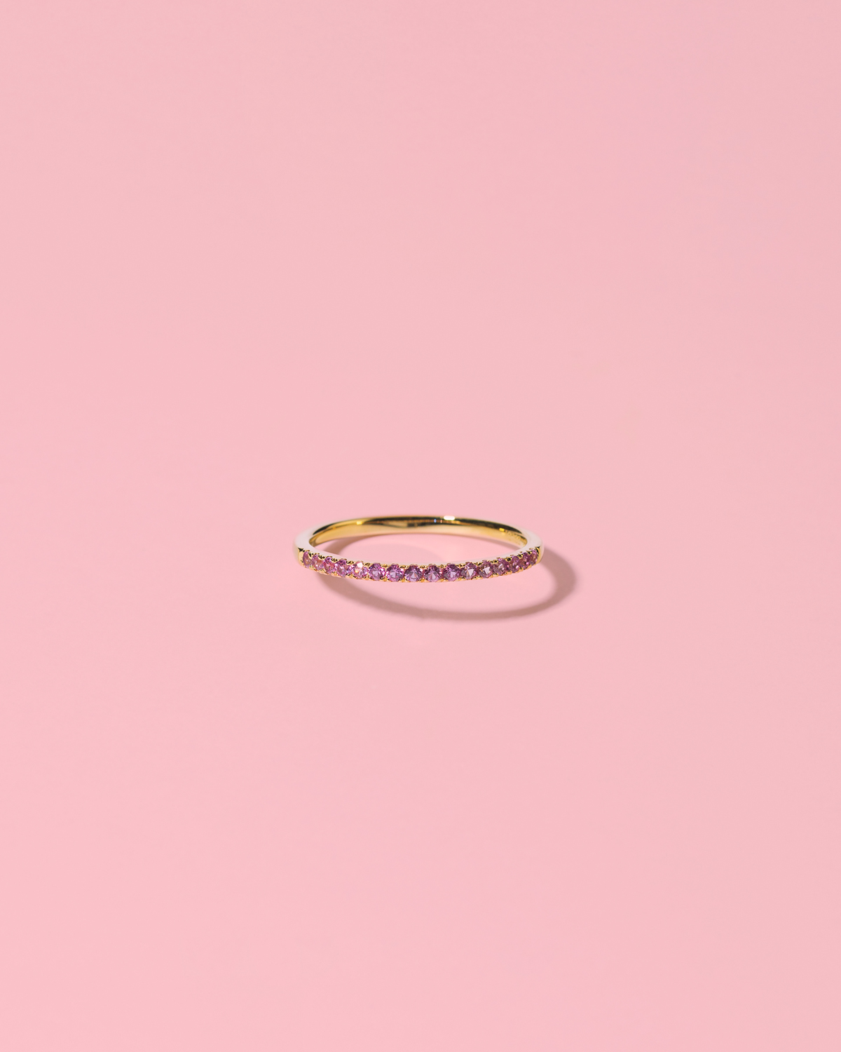 Glamglower <br>gold-plated ring pink stones